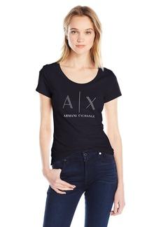 A X Armani Exchange Women's Ax Studded Logo Scoop Neck Jersey T-Shirt
