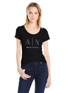 A|X Armani Exchange Women's Ax Studded Logo Scoop Neck Jersey T-Shirt