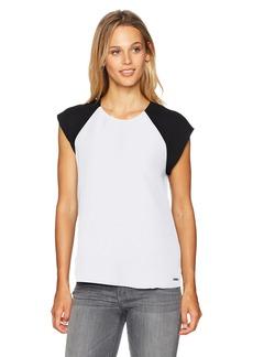 A X Armani Exchange Women's Back Tie Short Sleeve Blouse  XS
