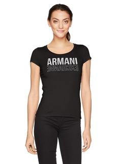 A X Armani Exchange Women's Backwards Logo Scoop Neck Tee  XS