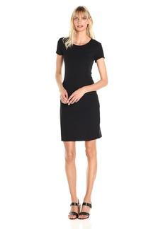 A|X Armani Exchange Women's Basic Crew Neck Short Sleeve above the Knee Dress