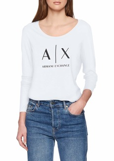 A|X Armani Exchange Women's Basic Scoop Neck Long Sleeved Tee with Logo on Chest  XL