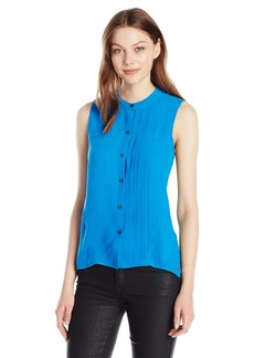 A|X Armani Exchange Women's Button Up High Low Woven Tank