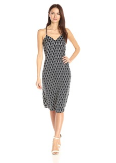 A|X Armani Exchange Women's Cami V Neck Midi Printed Woven Dress