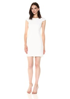 A|X Armani Exchange Women's Cap Sleeve Mesh Cutout Dress