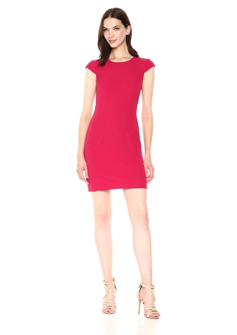 A|X Armani Exchange Women's Cap Sleeve Mesh Cutout Dress Royal red
