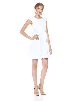 A|X Armani Exchange Women's Cap Sleeve Waist Tie Skater Dress