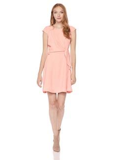 A|X Armani Exchange Women's Cap Sleeve Waist Tie Skater Dress