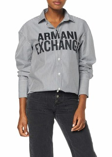 A|X Armani Exchange Women's Classic Button Down Shirt with Logo Across Bust  M