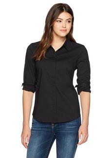 A X Armani Exchange Women's Classic Long Sleeve Woven Button Down Blouse  XL