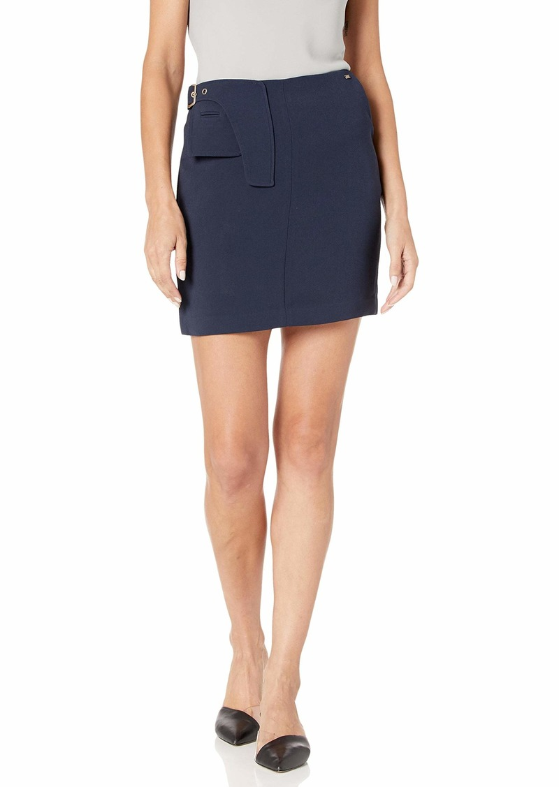 A|X Armani Exchange Women's Classic Mini Skirt with Geometic Buckle Waistband Detail