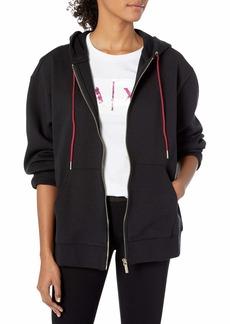 A X Armani Exchange Women's Classic Zip Up Sweatshirt with Drawstring Hood  XL