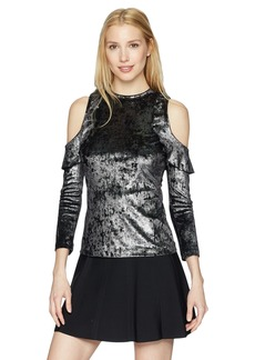A|X Armani Exchange Women's Cold-Shoulder Velvet Metallic Jersey Top  S