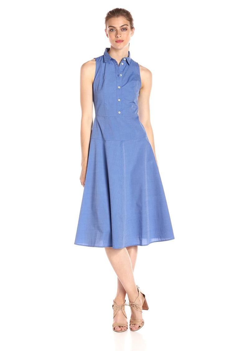 A|X Armani Exchange Women's Collared Button up Sleeveless Midi Dress