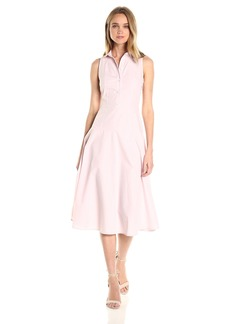 A|X Armani Exchange Women's Collared Button Up Sleeveless Midi Dress
