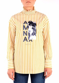 A|X Armani Exchange Women's Cotton Striped Shirt with Rouched High Neck White/Honey M