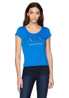 A|X Armani Exchange Women's Crew AX Logo Tee  L