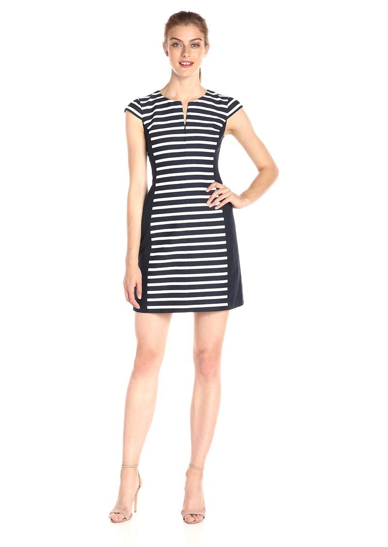 A|X Armani Exchange Women's Crew Neck Cap Sleeved Striped Colorblock Detail Dress