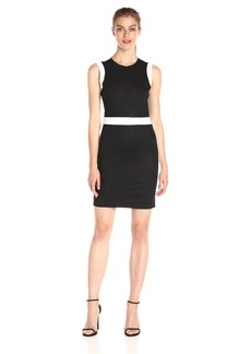 A|X Armani Exchange Women's Crew Neck Color Block Mini Dress