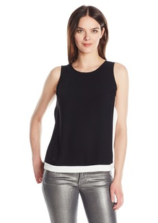A|X Armani Exchange Women's Crew Neck Colorblock Woven Sleeveless Tank Top