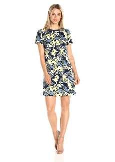 A|X Armani Exchange Women's Crew Neck Short Sleeve Printed Dress