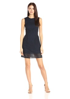 A|X Armani Exchange Women's Crew Neck Sleeveless Eyelet Mini Dress