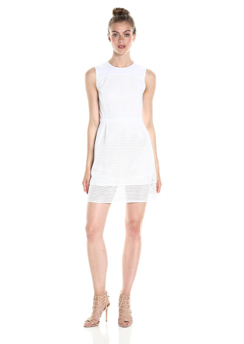 A|X Armani Exchange Women's Crew Neck Sleeveless Eyelet Mini Dress