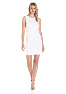 A|X Armani Exchange Women's Crew Neck Sleeveless Mesh Overlay Detail Bodycon Dress