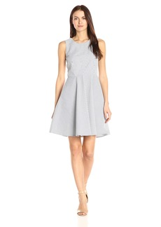 A|X Armani Exchange Women's Crew Neck Sleeveless Seersucker Fit and Flare Dress