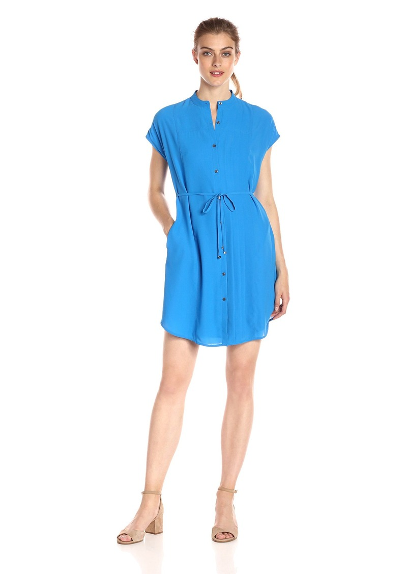 A|X Armani Exchange Women's Crew Neck Waist Tie Button up Above The Knee Dress