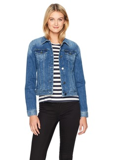 A X Armani Exchange Women's Denim Jacket with Two Breast Pockets and Snap Buttons Indigo L