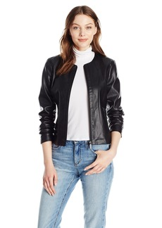A X Armani Exchange Women's Fitted Leather Round Neck Jacket with Zipper  S