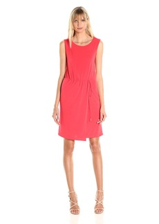 A|X Armani Exchange Women's Drawstring Waist Scoop Neck Tank Knee Length Dress