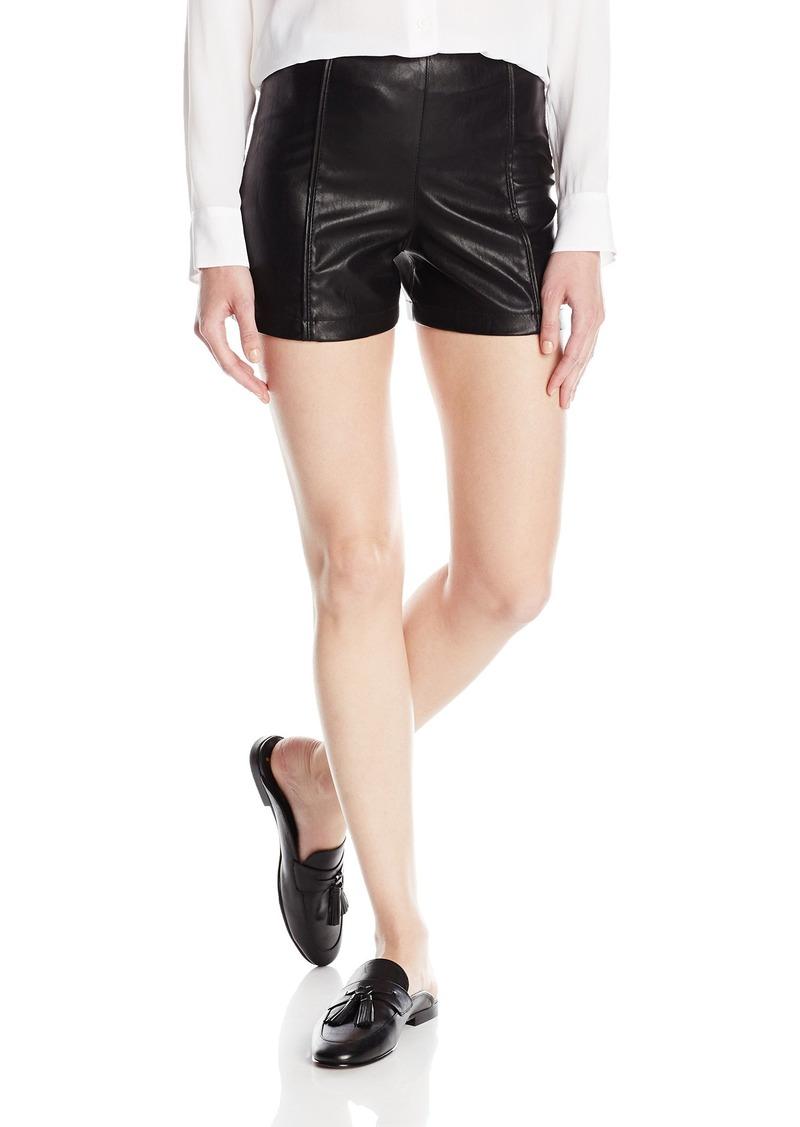 A|X Armani Exchange Women's Eco-Leather Hardware Detail Shorts