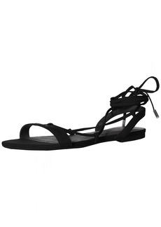 A|X Armani Exchange Women's Eco Suede Logo Lace Up Sandal Flat   Medium US