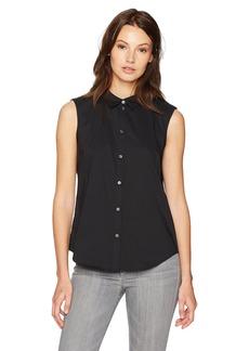 A|X Armani Exchange Women's Essential Sleeveless Woven Button Down Blouse  M