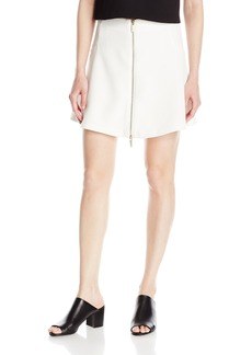 A|X Armani Exchange Women's Exposed Front Zip Woven Mini Circle Skirt