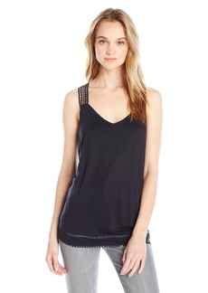 A|X Armani Exchange Women's Eyelet Strap Detail and Trim Jersey Tank Top