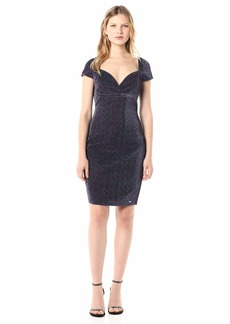 A|X Armani Exchange Women's Fitted Sweetheart Neckline Mini Dress with Capsleeves  L