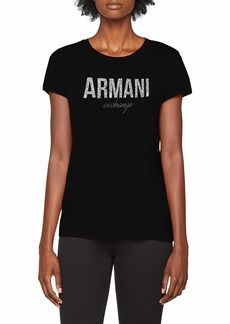 A|X Armani Exchange Women's Fitted T-Shirt with Large Faded Logo on Chest  XL
