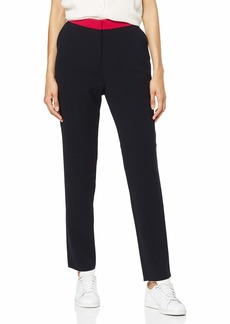 A|X Armani Exchange Women's Flat Font Classic Trouser with Contrasting Colored Waistband