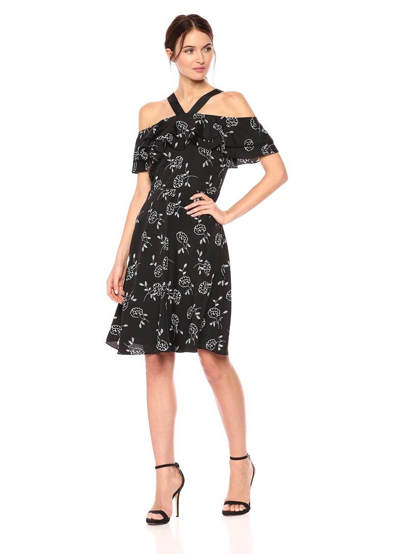A|X Armani Exchange Women's Floral Shoulder & Strap Dress Small FL. Black