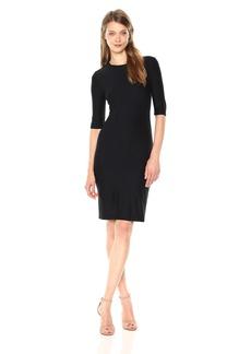 A|X Armani Exchange Women's Form Fitting Round Neck Half Sleeve Mini Dress  L