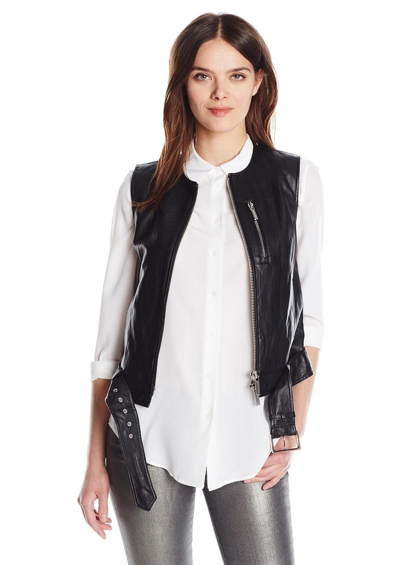 A|X Armani Exchange Women's Front Zip Belted Waist Moto Eco-Leather Vest