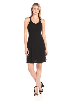 A|X Armani Exchange Women's Irregular Rib Knee Length Crossback Fit and Flare Dress