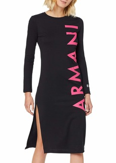 A|X Armani Exchange Women's Knee Length Long Sleeved Shirt Dress with Logo Down Side  M
