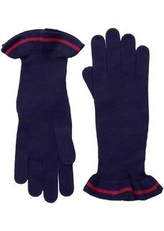 A|x Armani Exchange Women's Knit Glove With Single Stripe Ruffle Trim evening blue XS/S