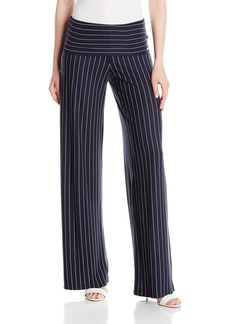 A|X Armani Exchange Women's Large Waistband Pinstripe Flare Trouser