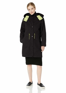 A X Armani Exchange Women's Layered Drawstring Coat with Hood  M