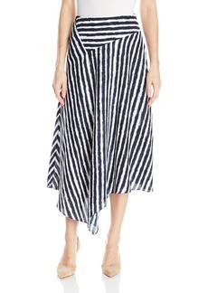 A|X Armani Exchange Women's Light Twill White&Navy Asymmetrical Maxi Skirt